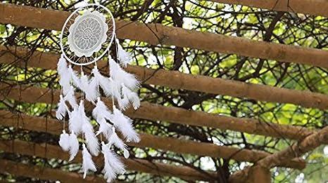 blanc dentelle Plume Indien Handmade Dream Catcher Attrape-r/êves Capteur de R/êves,Tenture D/écoration mural int/érieure Cadeau GreenK Capteur de R/êves Attrape-r/êves Ornement Suspendu