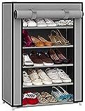 EMBROSS Carbon Steel Fabric Shoe Rack (Grey 4 Shelves)