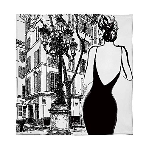 (YOLIYANA Flannel Blanket,Paris City Decor,for Living Room Bedroom Hotel,Size Throw/Twin/Queen/King,Young Elegant Woman in a Black Dress)