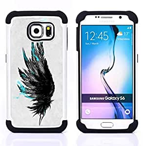 - teal black grey raven bird deep art/ H??brido 3in1 Deluxe Impreso duro Soft Alto Impacto caja de la armadura Defender - SHIMIN CAO - For Samsung Galaxy S6 G9200
