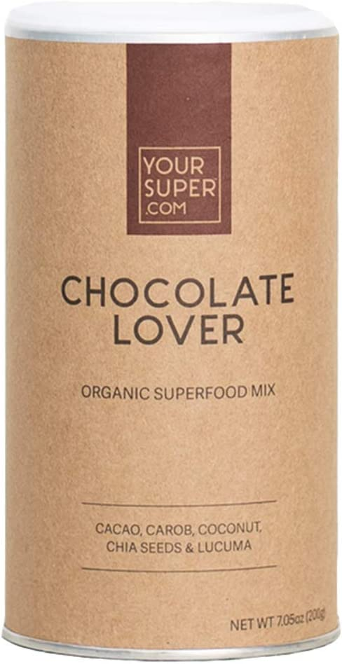 Chocolate Lover Superfood Mix by Your Super Plant Based Mood Enhancement Powder Reduce Sugar Cravings Essential Vitamins, Minerals, Antioxidants Non-GMO, Organic Ingredients