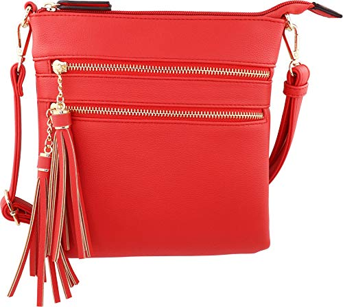 (Vegan Mini Multi-Zipper Crossbody Handbag Purse with Tassel Accents with RFID Protection (Poppy Red RF))