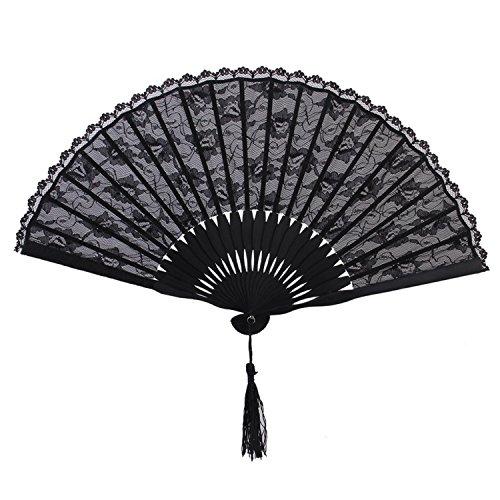 Fancy Dress Perth (Reinhar Spanish Victorian Hand Fan for Wedding Party Favor Fancy Dress Black Japanese Folding Pocket Fan)