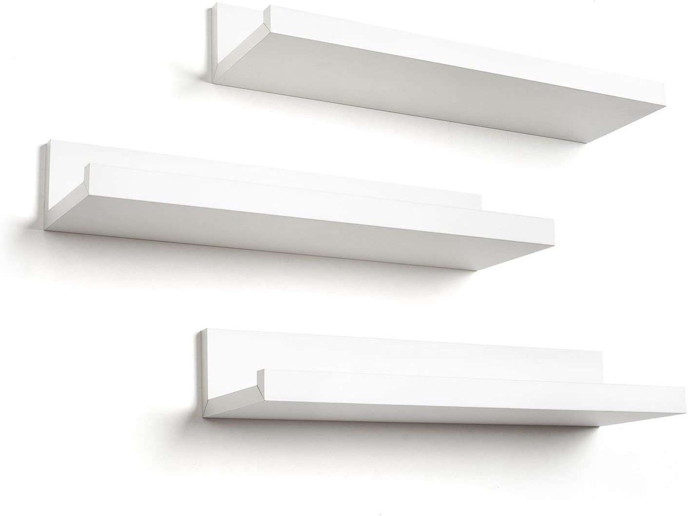 Amazon Com Americanflat 14 Inch Floating Shelves Set Of 3 In White Composite Wood Wall Mounted Storage Shelves For Bedroom Living Room Bathroom Kitchen Office And More Home Kitchen