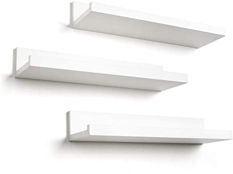 Americanflat 14 Inch Floating Shelves Set Of 3 In White Composite Wood Wall Mounted Storage Shelves For Bedroom Living Room Bathroom Kitchen Office And More Home Kitchen