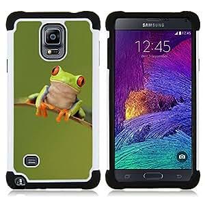 - frog happy cute green animal/ H??brido 3in1 Deluxe Impreso duro Soft Alto Impacto caja de la armadura Defender - SHIMIN CAO - For Samsung Galaxy Note 4 SM-N910 N910
