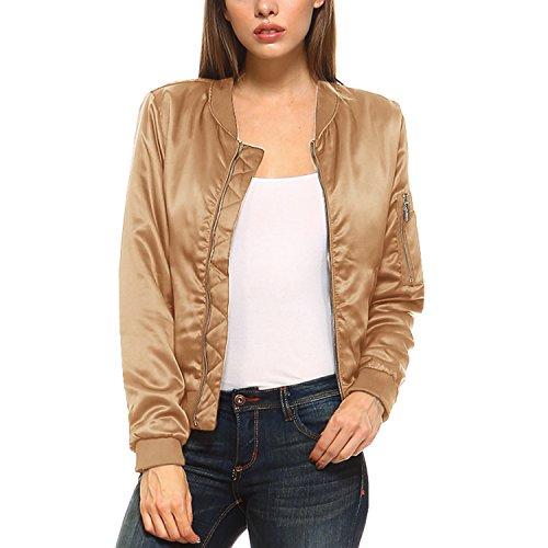 Fashionazzle Women's Solid Classic Zip Up Quilted Short Bomber Jacket Padded Coat (Medium, BMJ02-Khaki) - Bomber Classic Coat