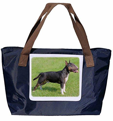 Shopper /Schultertasche / Einkaufstasche / Tragetasche / Umhängetasche aus Nylon in Navyblau - Größe 43x33cm - Motiv: Bullterrier / Bull Terrier Porträt - 03