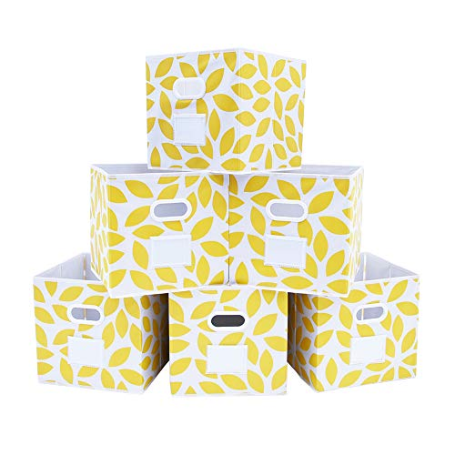 MAX Houser Fabric Storage Bins Cubes Baskets Containers with Dual Plastic Handles for Home Closet Bedroom Drawers Organizers, Flodable, Set of 6 (Yellow)
