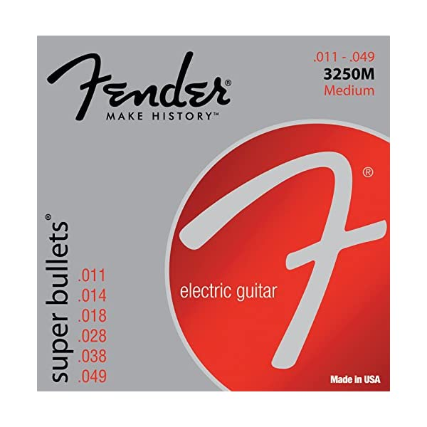 Fender 3250M Super Bullets Medium Nickel Plated Steel Guitar Strings (0.11-0.49) 6 Strings Set