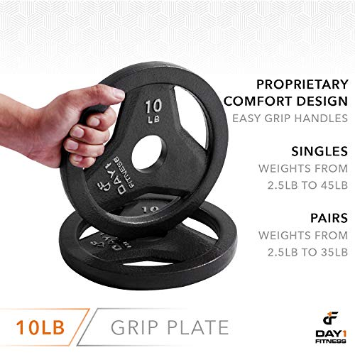 "Day 1 Fitness Cast Iron Olympic 2-Inch Grip Plate for Barbell, 10 Pound Single Plate Iron Grip Plates for Weightlifting, Crossfit - 2"" Weight Plate for Bodybuilding by Day 1 Fitness (Image #4)"