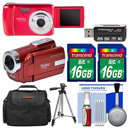 Vivitar ViviCam VXX14 Selfie Digital Camera & DVR-508 HD Camcorder (Red) with (2) 16GB Cards + Case + Tripod + (Dvr Card Kit)