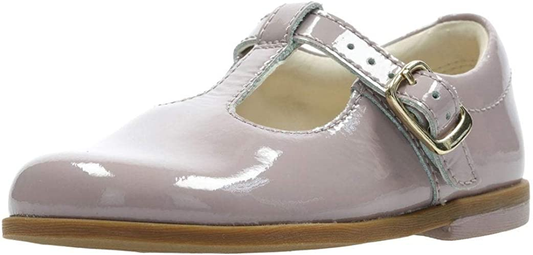 /'Drew Shine/' Infant Girls Clarks Patent Leather T-Bar Buckle Fastening Shoes