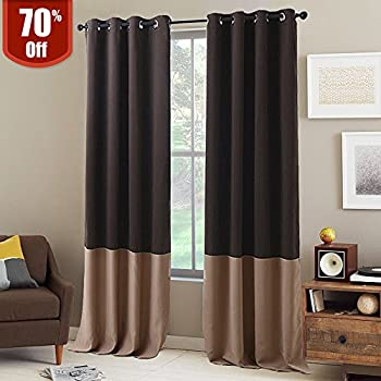 NICETOWN Living Room Blackout Curtains   Home Decoration Two Tone Thermal  Insulated Grommet Colorblock Blackout Drapes