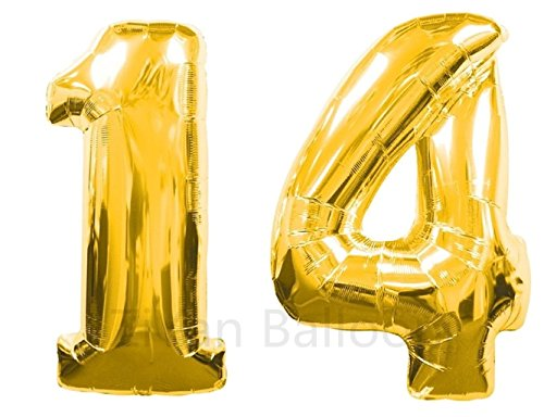 ZIYAN 40 Inch Giant 14th Gold Number Balloons,Birthday / Party Balloons.]()