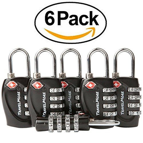 Price comparison product image 6 Pack TSA Approved Luggage Locks for Travel Safety,  Small 4 Digit Combination Padlocks for Suitcases,  Lockers & Bags