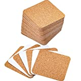 Hotop 60 Pack Self-adhesive Cork Coasters Squares Cork Mats Cork Backing Sheets for Coasters and DIY Crafts Supplies