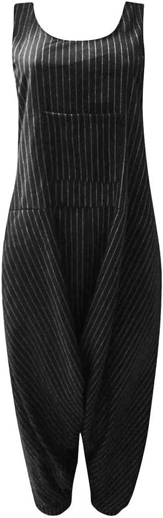 Ansenesna Jumpsuit Gestreift Damen /Ärmellos Lang Locker Elegant Hosentr/äger Frauen Vintage Overall Latzhosen