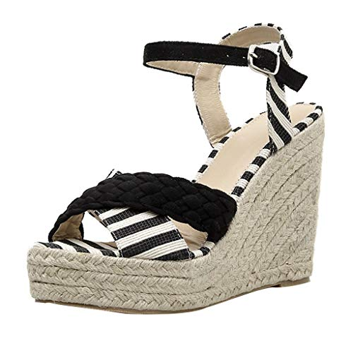 〓COOlCCI〓Women's Adjustable Ankle Strap Wedge Comfort Sandal Open Toe Casual Platform Sandals Espadrille Wedge Sandal Black (Crocs Open Toe Wedge)