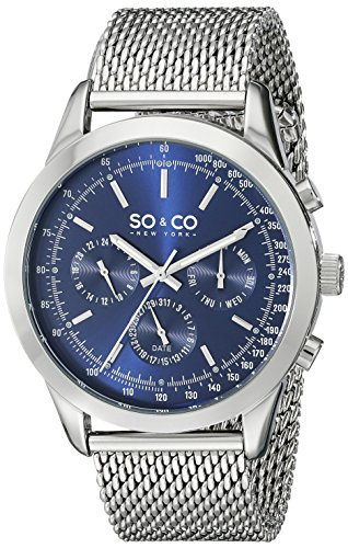 Amazon #LightningDeal 80% claimed: SO & CO New York Men's 5006A.2 Monticello Day and Date Stainless Steel Mesh Bracelet Watch
