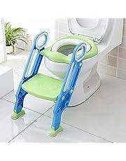 ECHILUCK Toiletten-Trainer, Töpfchen Trainer, Kinder Toilettensitz Trainer mit Leiter Töpfchen Sitz für Toiletten 38-42cm, für Kinder von 1-7 Jahren, blau/grün