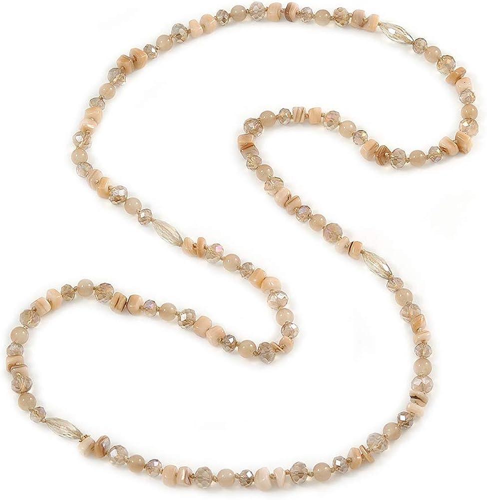 Collar largo de cuentas de cristal de color caramelo, piedra semitreciosa, ágata y cristal, 120 cm de largo