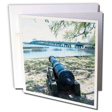 Bridge South Park (3dRose Danita Delimont - Weapons - South Carolina, Beaufort, waterfront park and Woods Memorial Bridge - 12 Greeting Cards with envelopes (gc_259983_2))