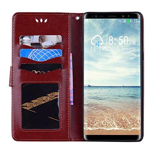Carcasa Billetera para Samsung Note 8, Moon mood Mandala Tótem PU Cuero TPU Interior Caso Carcasa para Samsung Galaxy Note 8 SM-N950 6.3 pulgada Folio Flip Kickstand Caso con Cierre Magnético Tarjetas Marrón