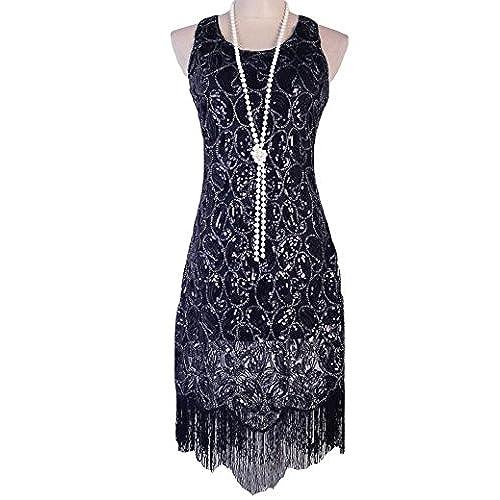 KAYAMIYA Womens 1920s Sequin Paisley Pattern Fringe Gatsby Flapper Dress S Pure Black