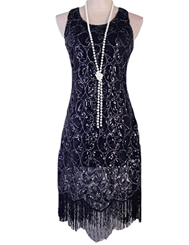 Black Fringe 1920 Flapper Costume (KAYAMIYA Women's 1920s Sequin Paisley Pattern Fringe Gatsby Costume Flapper Dress XXL Pure Black)