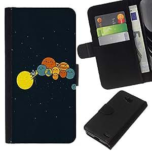 All Phone Most Case / Oferta Especial Cáscara Funda de cuero Monedero Cubierta de proteccion Caso / Wallet Case for LG OPTIMUS L90 // Funny Planets Comedy