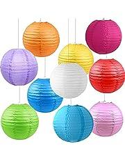 Kleurrijke ronde lantaarn, lampenkappen, 10 stuks waterdichte lampions, decoratieve lantaarn, lampions, waterdichte led-lampions, papieren lantaarn, voor tuinfeest, verjaardag, Kerstmis, babydouche en bruiloftsdecoratie.