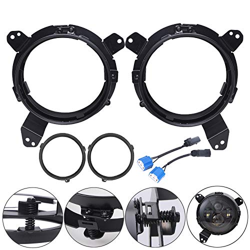 LX-LIGHT Newest Stainless Steel Omni-directional Adjust Mounting Brackets for 2018-2019 Jeep Wrangler JL Headlights