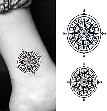 Oottati Tatuajes Temporales Cuello Brújula (Juego De 2): Amazon.es ...