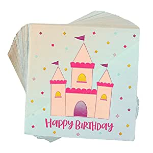 100-Pack Beverage Napkins – Happy Birthday Disposable Paper Party Napkins, Princess Castle Birthday Design – 5 x 5 Inches Folded