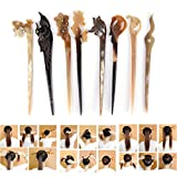 Ioffersuper 8 Pcs Different Pattern Classic Hand Polished Horn Original/Retro Stick Hair Pin For Women Lady,Pattern Random