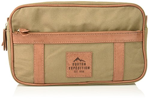 Expedition Gear - Buxton Men's Expedition Ii Huntington Gear Double Zip Canvas Travel Kit, Olive