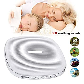 White Noise Machine, Portable Sound Machine, Sleep Sound Therapy Machine with 20 Soothing Natural Sounds Music for Baby,Adults. Built in USB Output & Timer(Slim Design) (White) USUNS