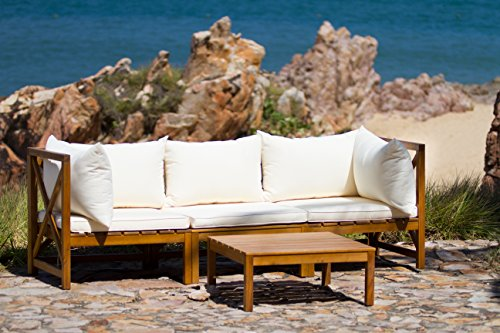 Safavieh Outdoor Collection Lynwood Outdoor Sectional Sofa, Teak Brown and Beige