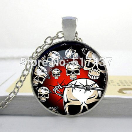 Pretty Lee 2015 New Halloween Skull Necklace Skull Jewelry Halloween Necklace Personalized Picture Necklace -