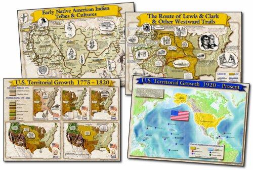 Carson Dellosa Mark Twain Historical Maps of The United States Bulletin Board Set (1953)