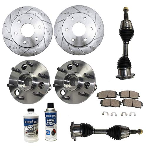 - Detroit Axle - 10PC Front CV Axle Shafts, Wheel Hub & Bearings, Drilled and Slotted Disc Brake Rotors w/Ceramic Pads for 1995-99 Chevy Tahoe/GMC Yukon - [1999 Cadillac Escalade]