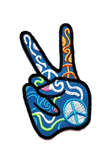 2'' X 3.4'' Blue Peace Two-Finger Cartoon logo jacket t-shirt Jeans Polo Patch Iron on Embroidered Logo Sign Badge Comics Cartoon patch by Tour les jours shop -