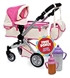 Doll Pram stroller with Swiveling Wheels & Adjustable Handle and Free Diaper Bag