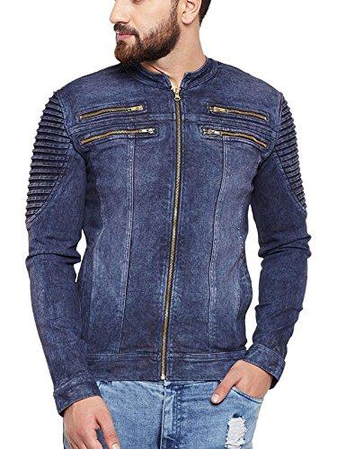 Fugazee Men's Blue Denim Biker Jacket Size:- XL: Amazon.in ...