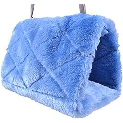 Bird Hammock Hanging Cave Cage Plush Snuggle Happy Hut Tent Bed Bunk Parrot Toy (Medium, Blue)
