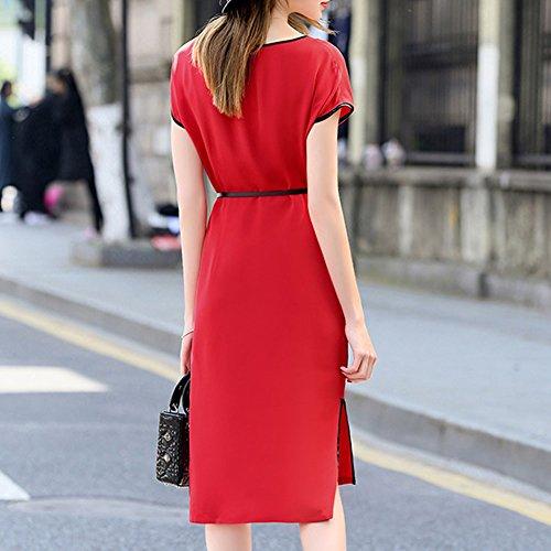 Size S9936 Summer Vintage Women Red Silk Knee DISSA Cocktail 3 Plus Dress Long 4 Sleeve HTvnwdq