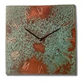 Patinated Copper Rustic Square Turquoise Wall Clock 10-inch Silent Non Ticking for Home/Office / Kitchen/Bedroom / Living Room