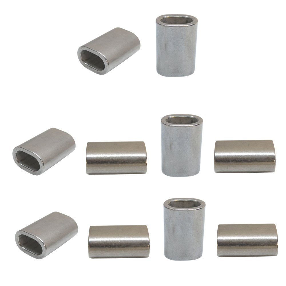 10 Pc Marine Stainless Steel 5/16 Oval Crimping Sleeve Wire Rope Cable Clip Tube Fitting Connector