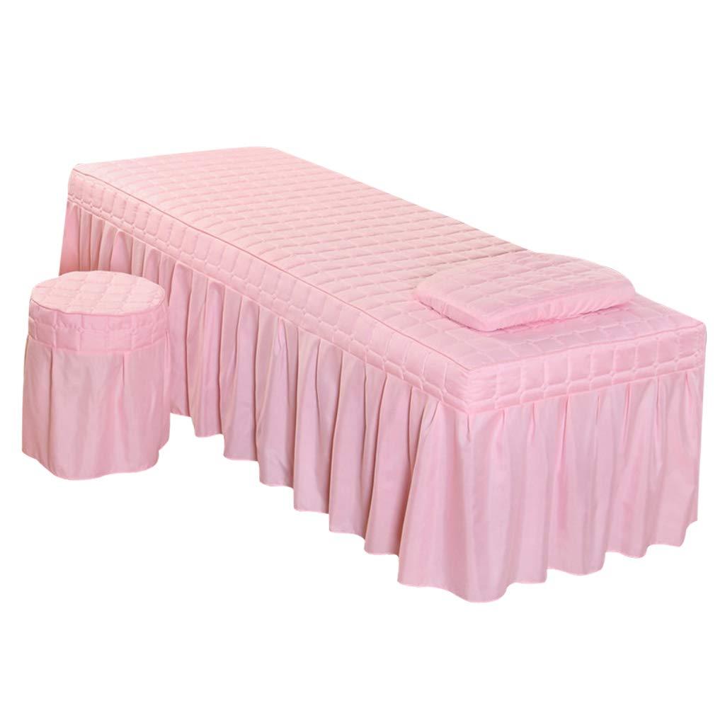 as described Beige-L Fenteer Premium Table Skirt Massage Linen Set including Stool Cover Pillowcase for Beauty Salon Spa Hotel